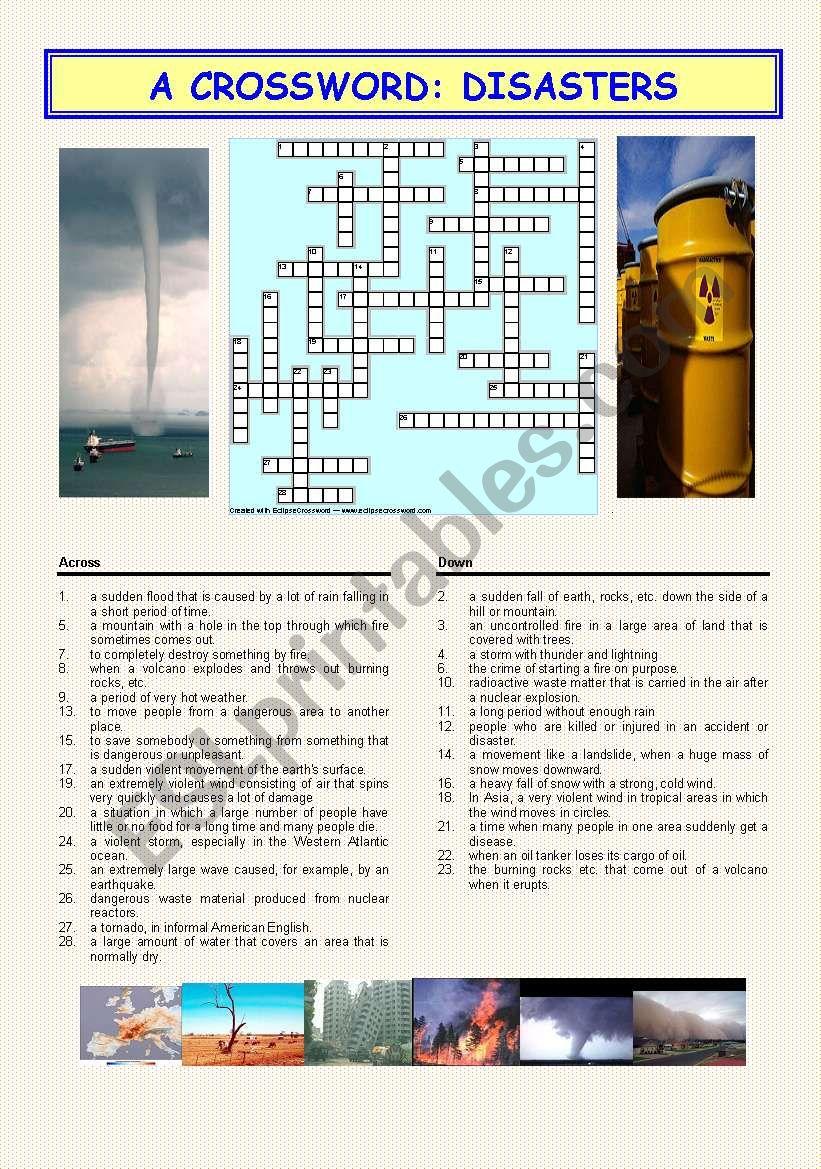 A crossword: DISASTERS worksheet
