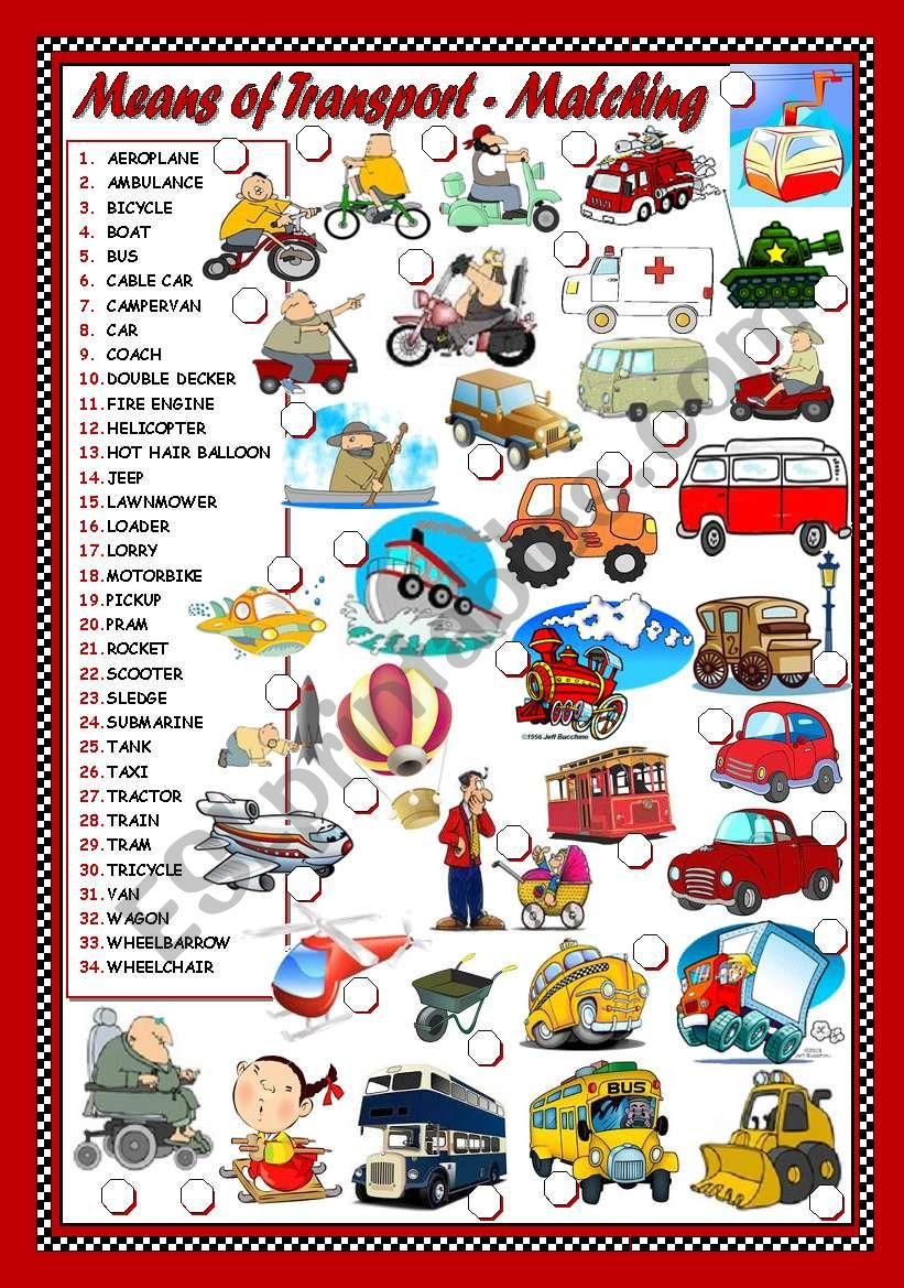 MEANS OF TRANSPORT - MATCHING worksheet