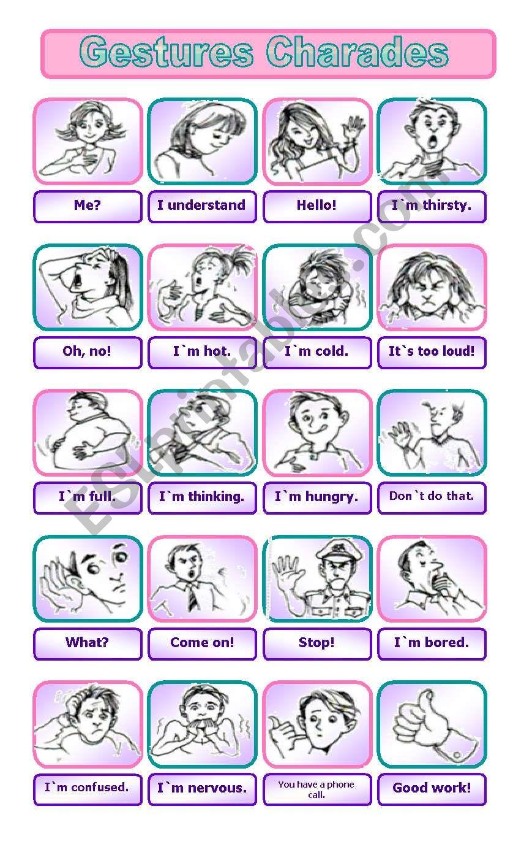 Gestures Charades GAME worksheet