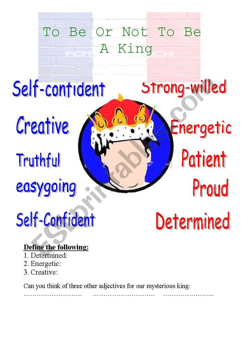 To be or not to be a king worksheet