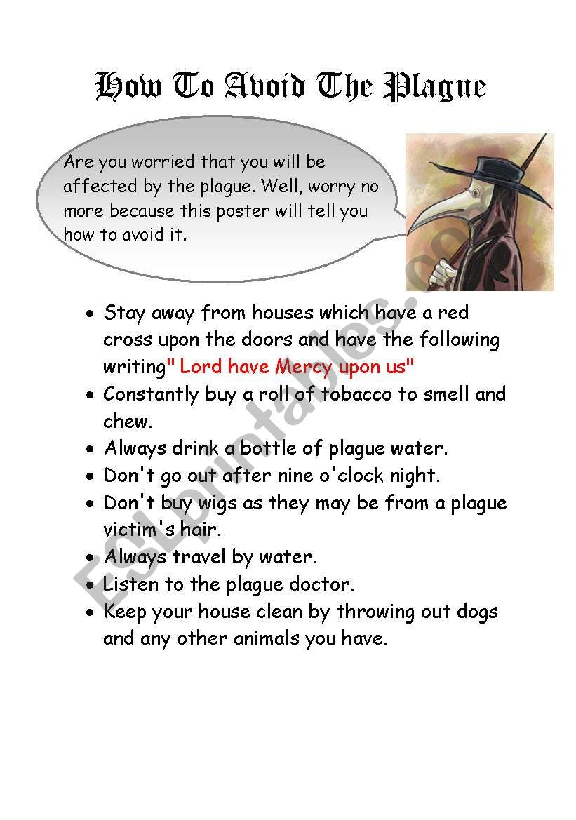 How to avoid the plague worksheet