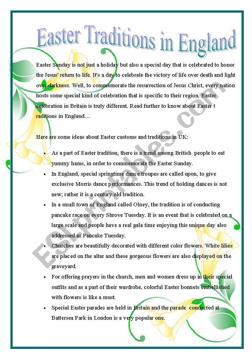 Easter Traditions in England worksheet