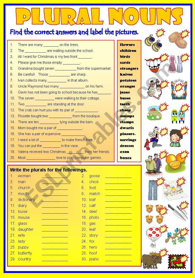 PLURAL NOUNS   -  B/W & Keys worksheet