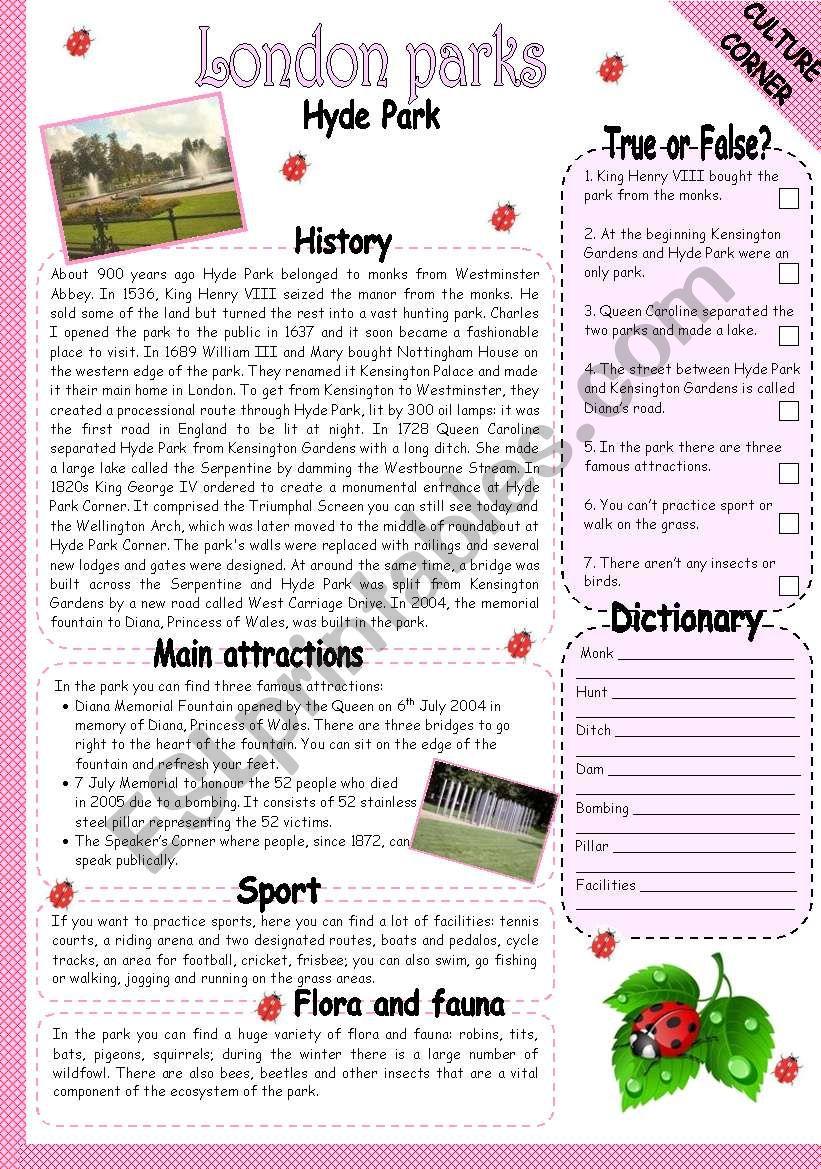 HYDE PARK worksheet