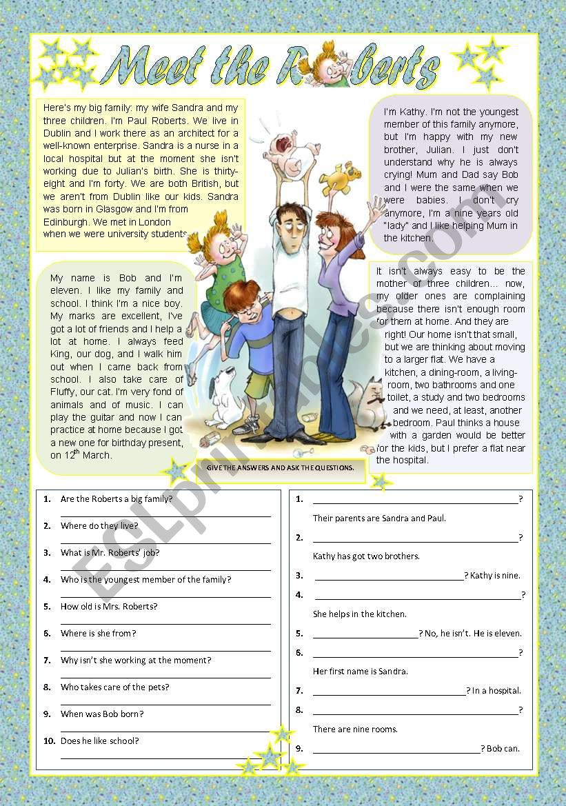 MEET THE ROBERTS worksheet