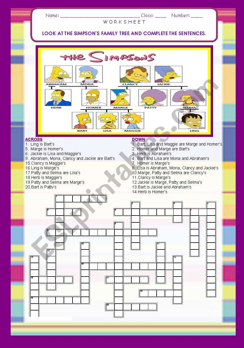 THE SIMPSONS FAMILY TREE / CROSSWORDS-  21 SENTENCES with ANSWER KEY