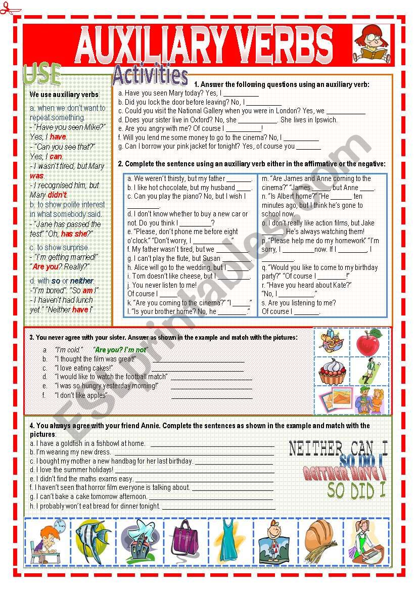 Auxiliary verbs worksheet