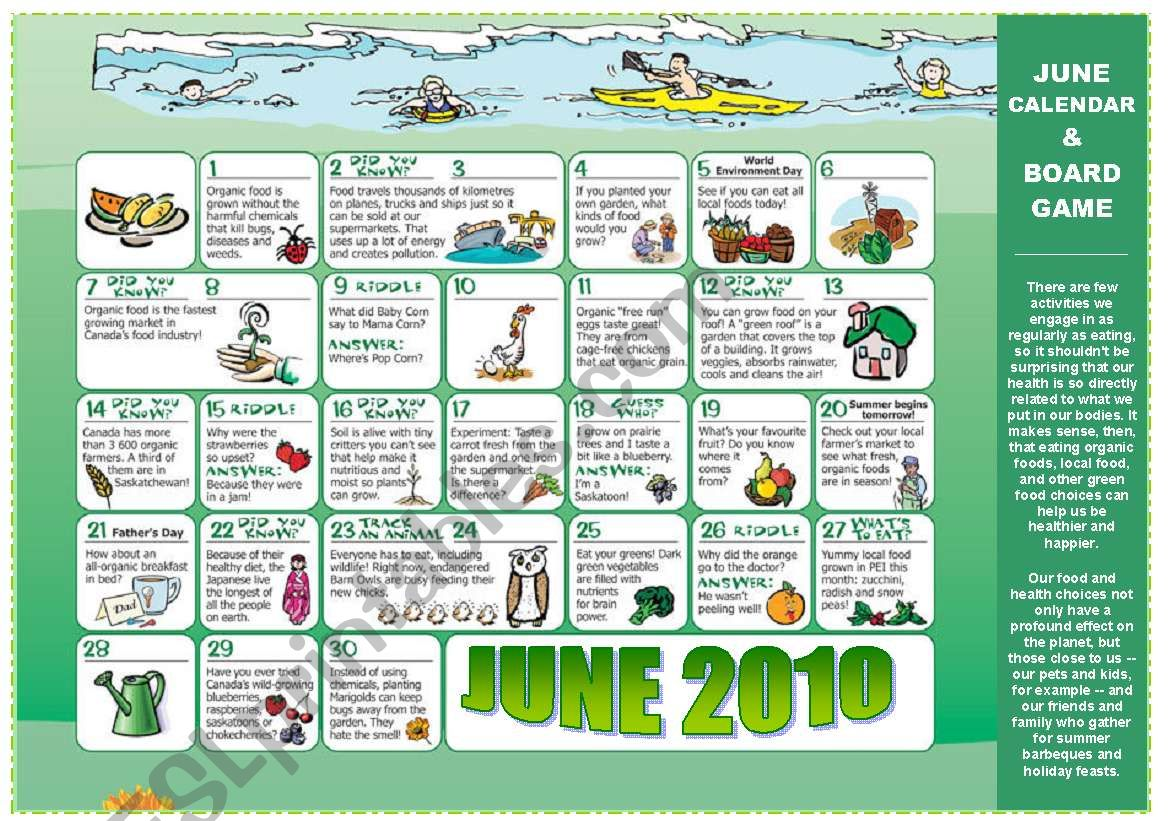5 PAGES - EAT GREEN + JUNE CALENDAR (riddles, tips,..) READING + SPEAKING