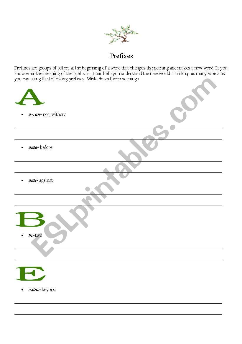 English worksheets: A List Of Common Prefixes
