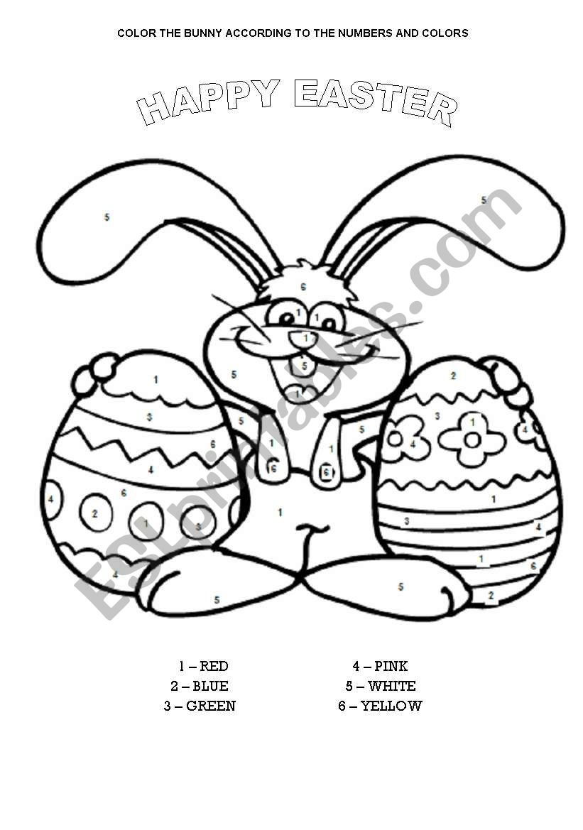 COLOR THE EASTER BUNNY worksheet