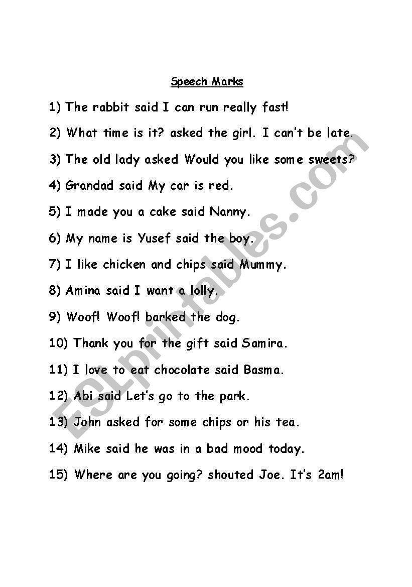Speech Marks worksheet