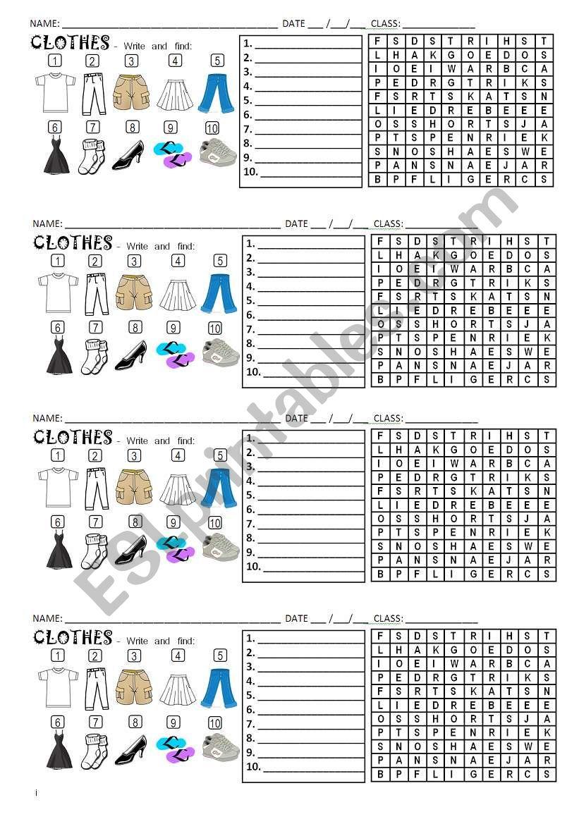 Clothes wordserach worksheet