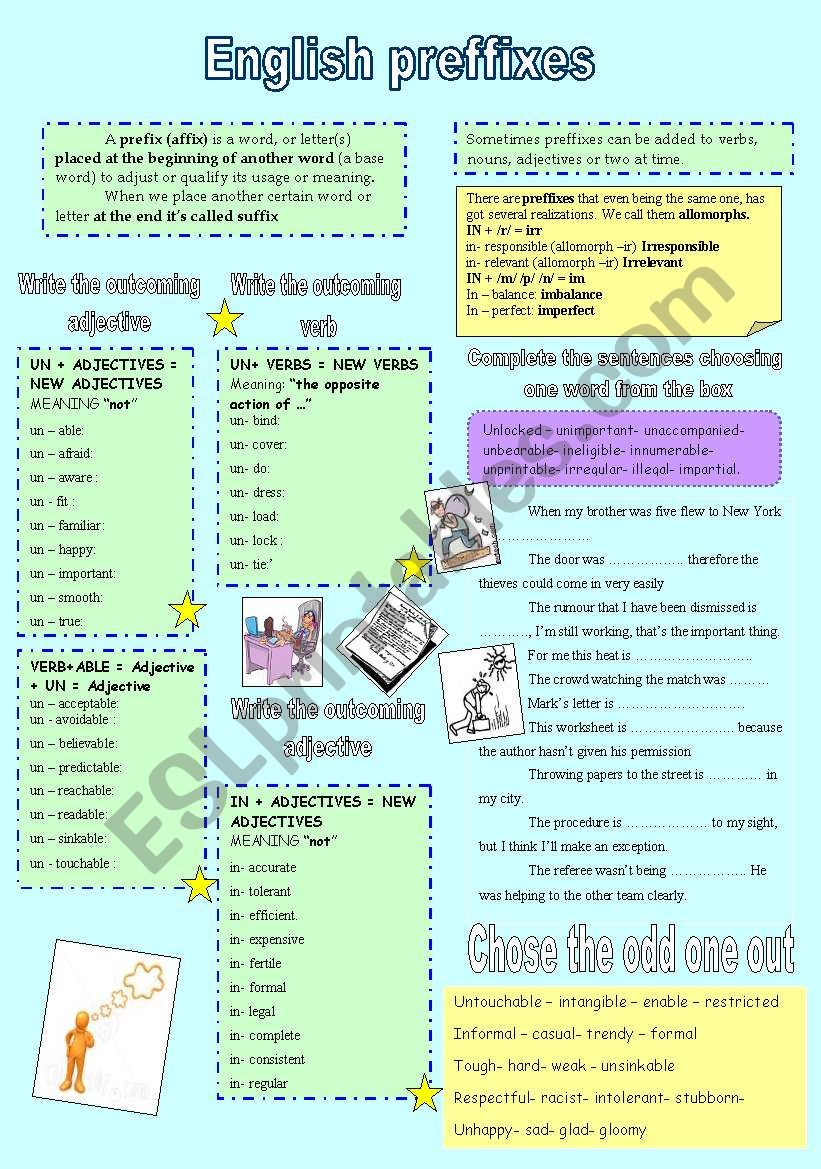 English preffixes with KEY worksheet