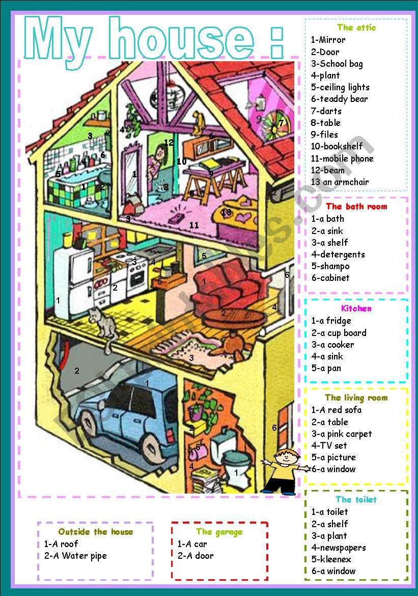 my house - ESL worksheet by ben 10