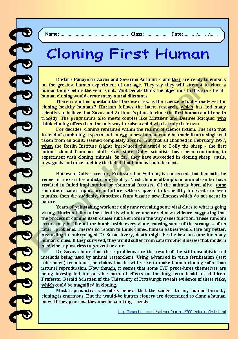 Science /technology / Cloning worksheet