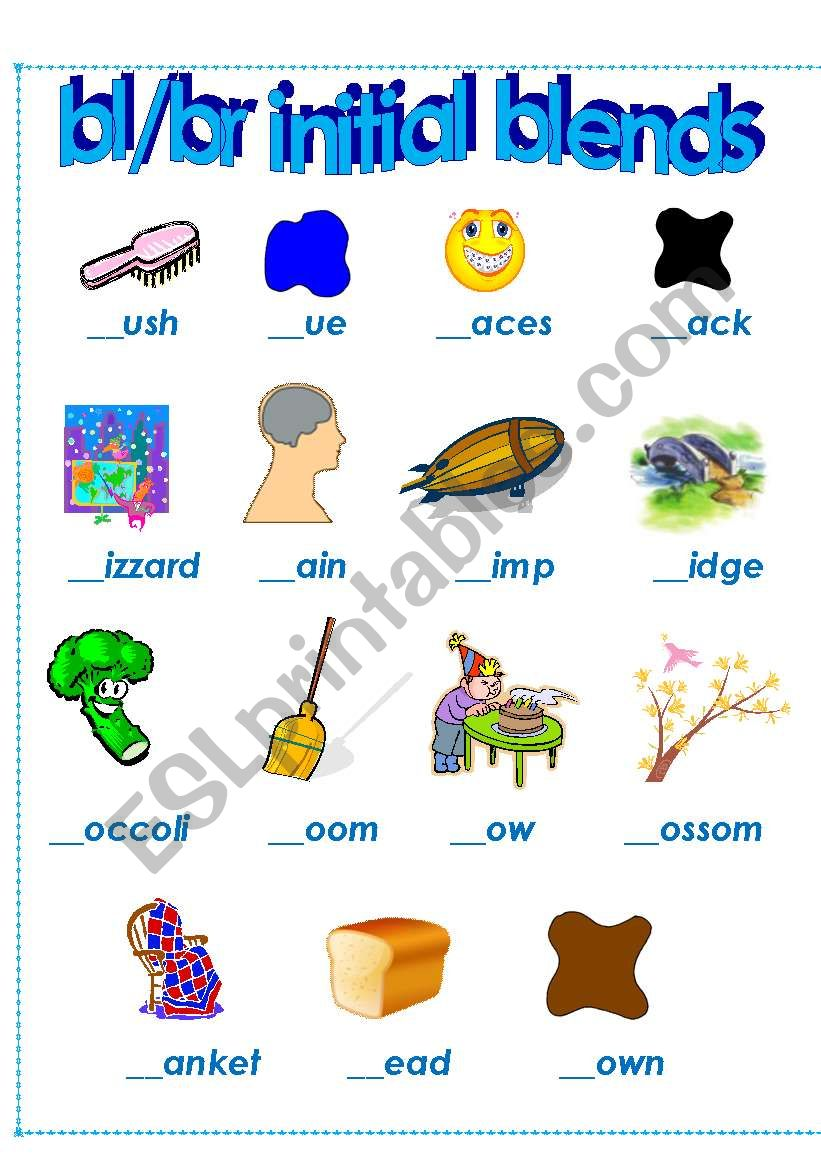 5 letter words starting with br initial blends bl and br esl worksheet by del1234 25964 | 390755 1 initial blends bl and br