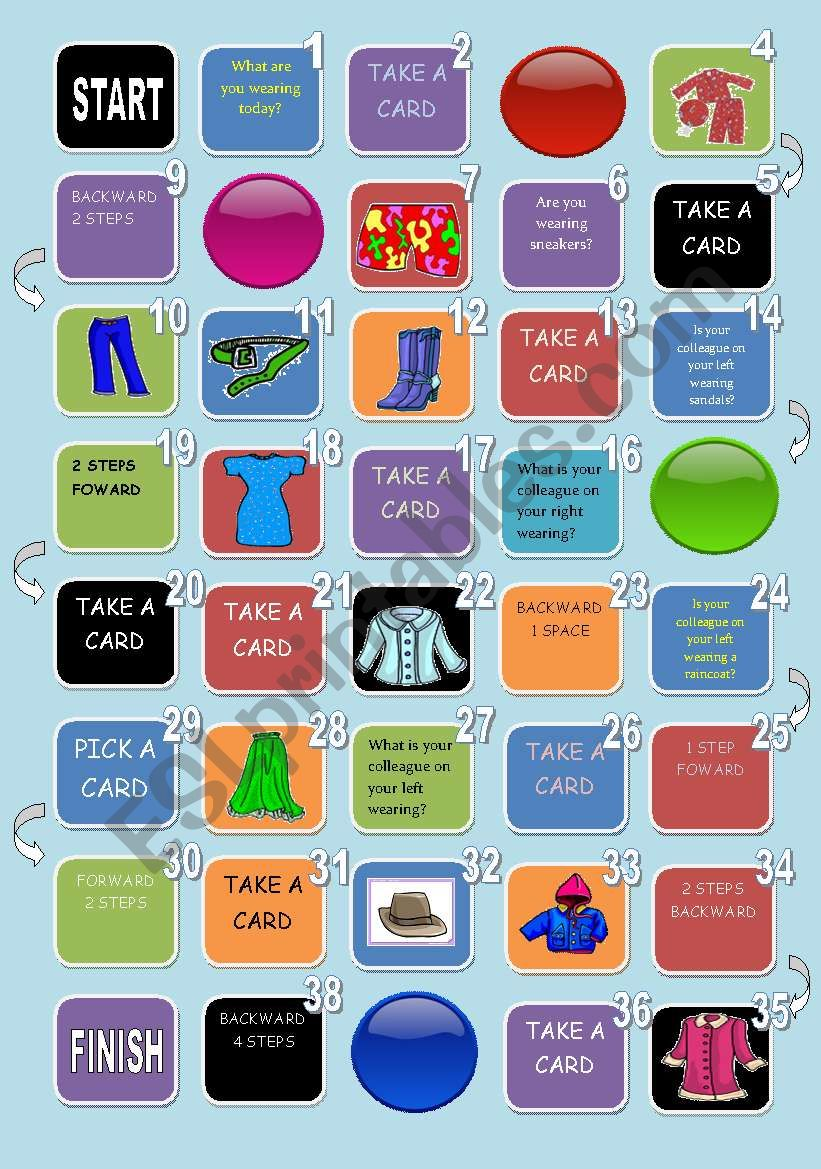 CLOTHES AND COLORS BOARD GAME worksheet