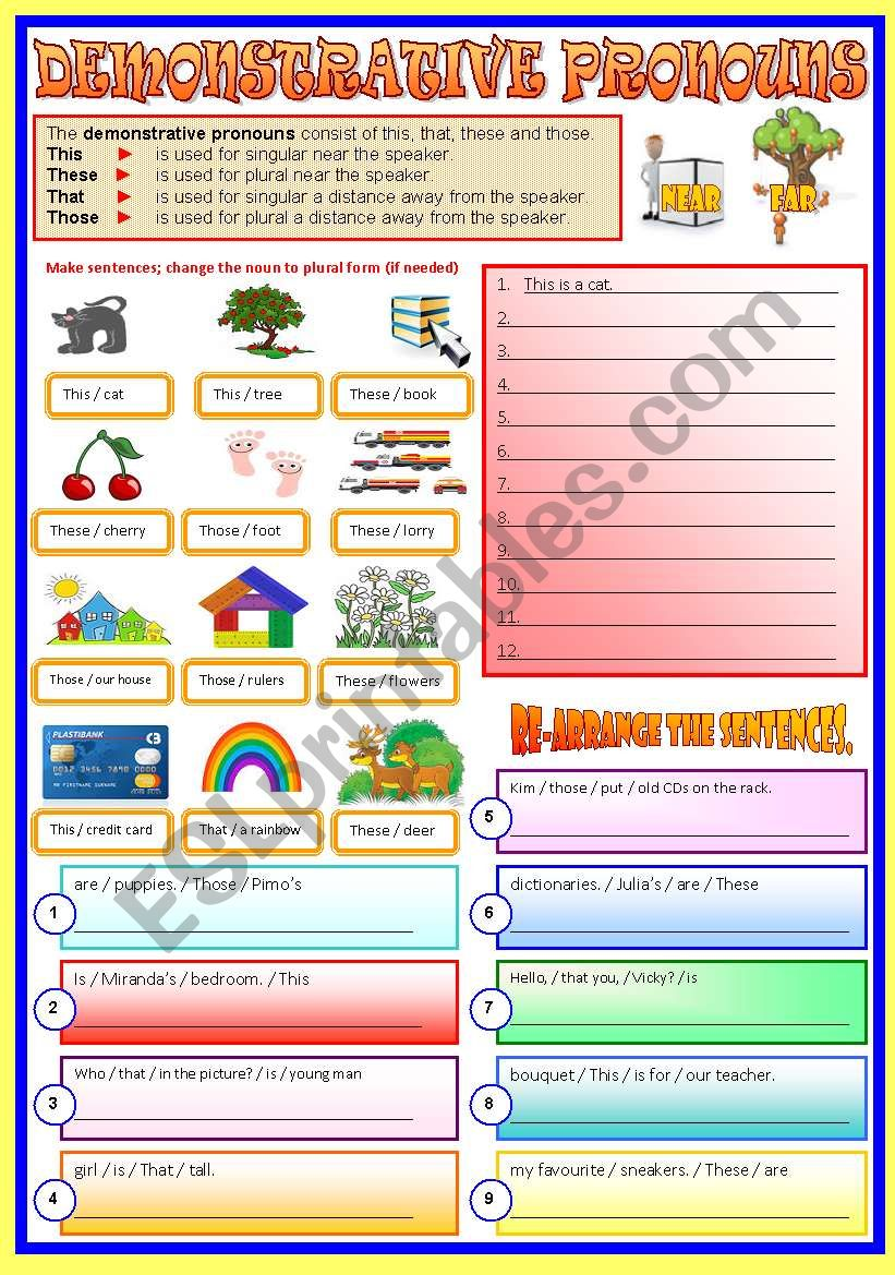 Demonstrative Pronouns - (B/W & Keys)   -  Revised