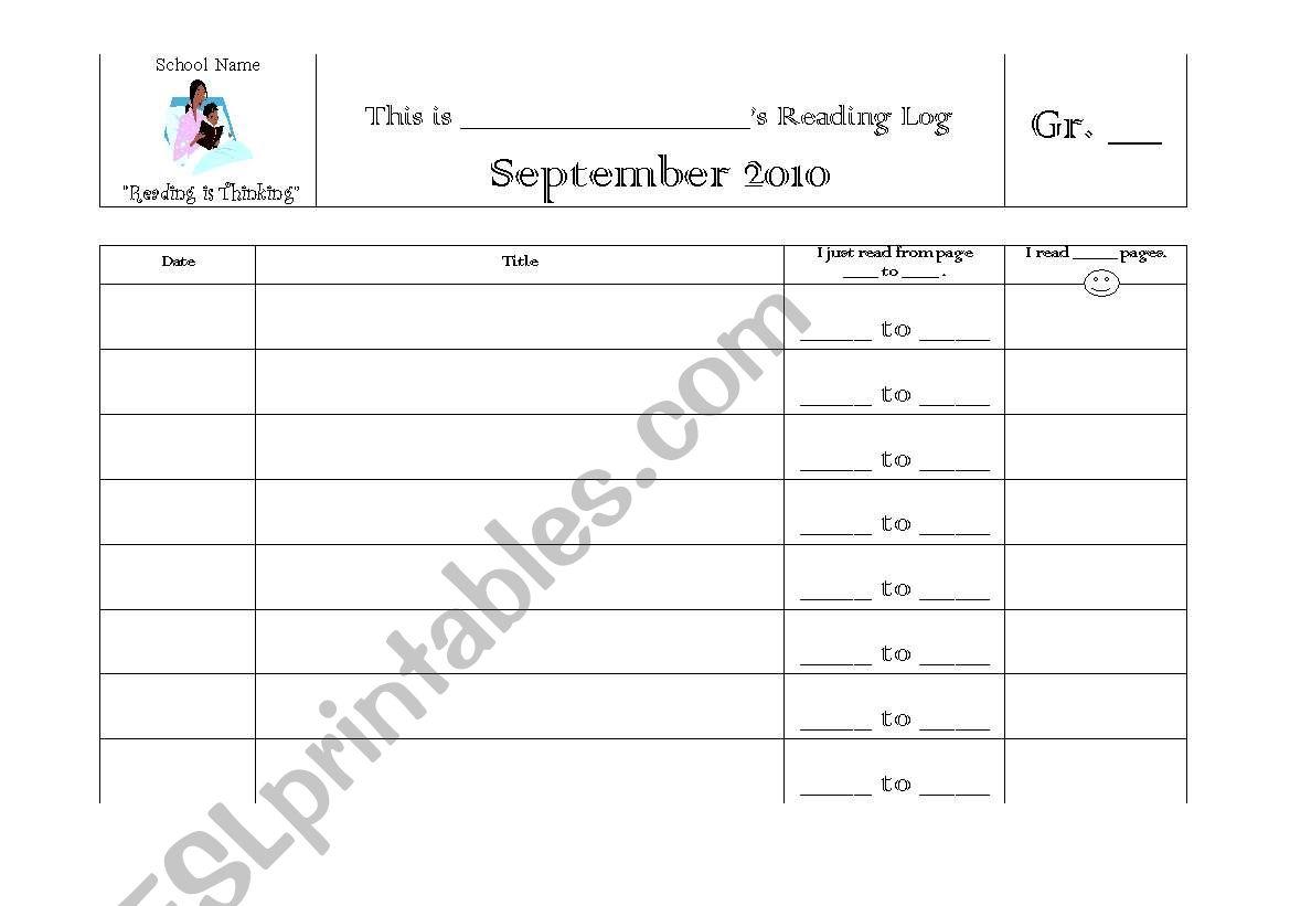 Individual Reading Log worksheet