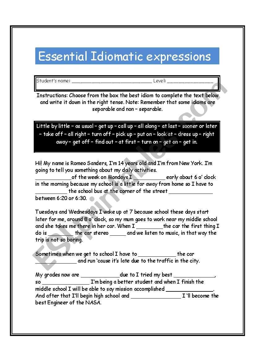 Idioms (Essential Idiomatic Expressions)