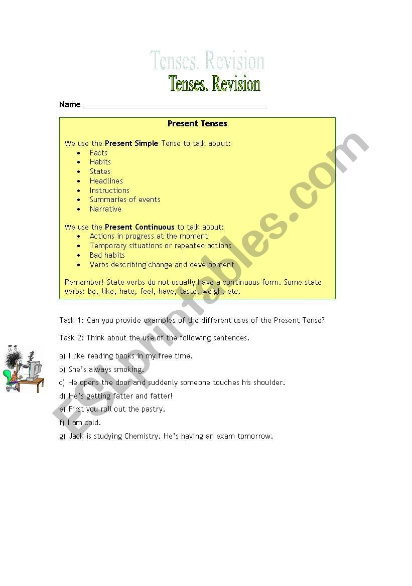 English Worksheets Revision Of Tenses