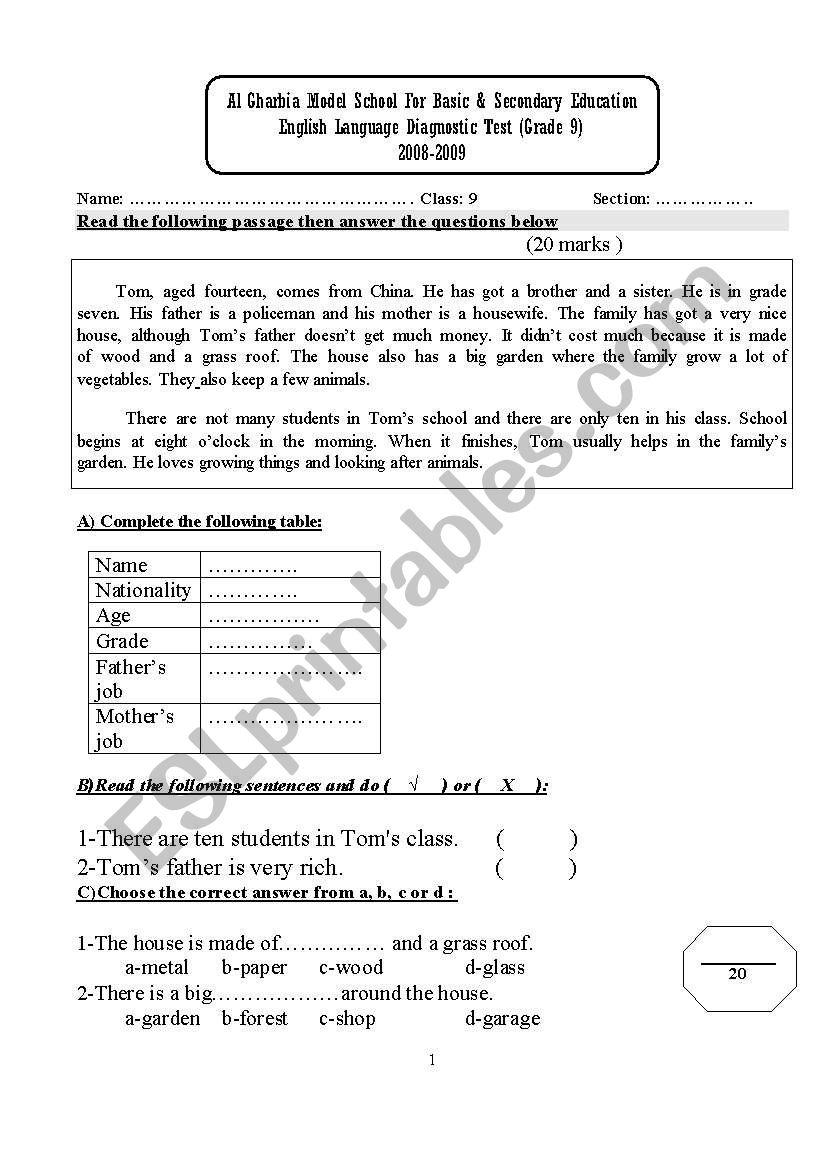 - Diagnostic Test. Complete Test For Grade 8 (UAE- MOE Standards