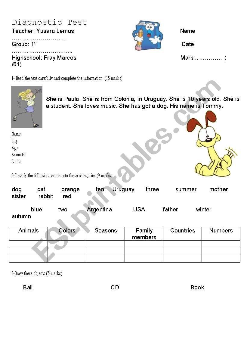 Diagnostic Test 1º worksheet