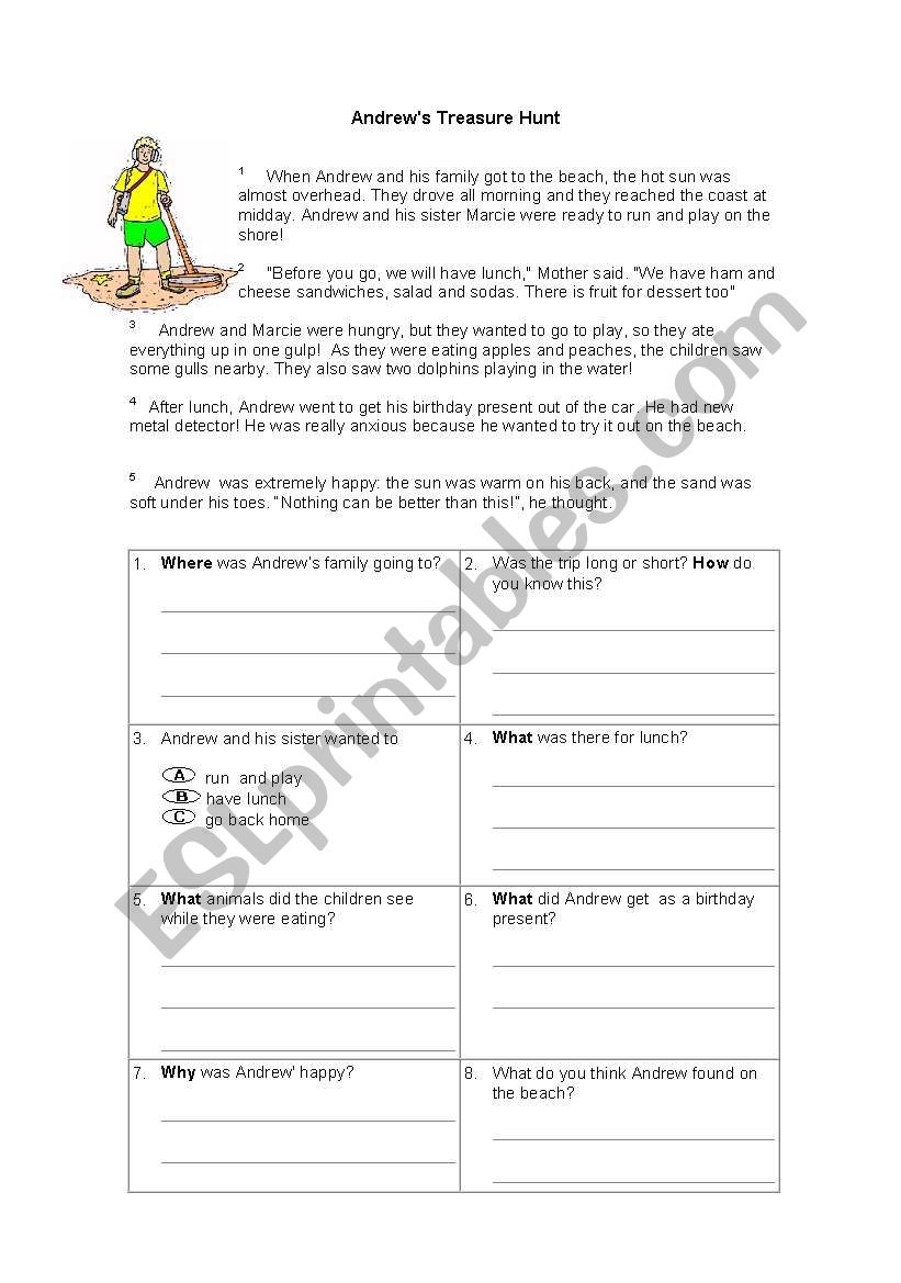ANDREW´S TREASURE HUNT worksheet