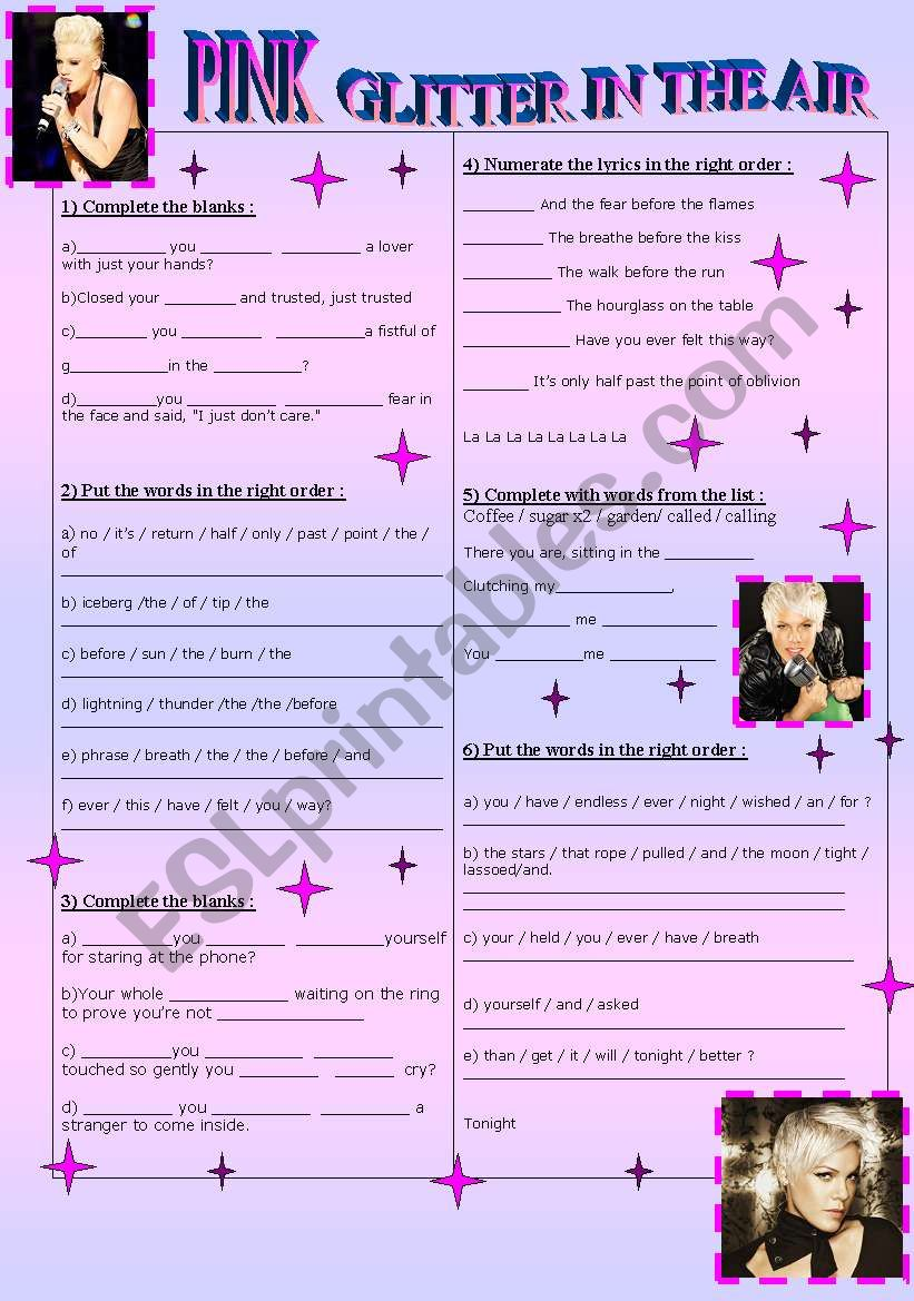 Song: Pink Glitter in the air worksheet