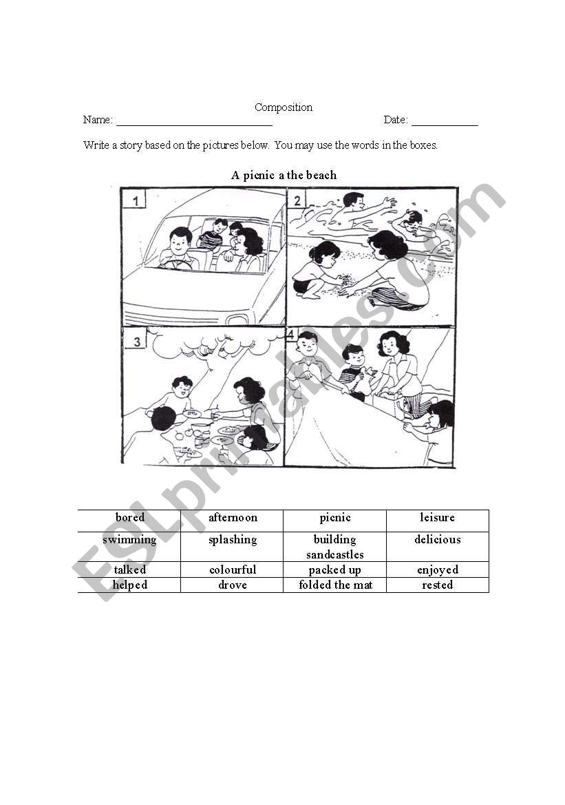 a picnic at the beach a 4 picture composition esl worksheet by kiatyan. Black Bedroom Furniture Sets. Home Design Ideas