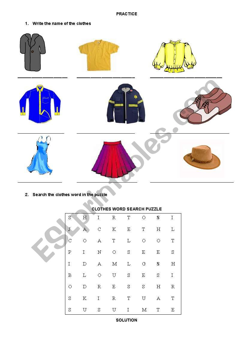 Clothes word search puzzle worksheet