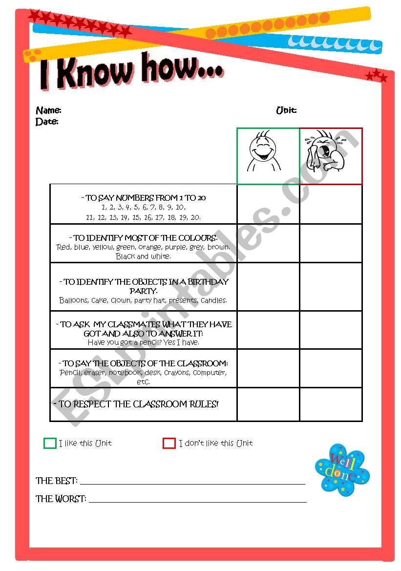 Self-evaluation for students worksheet