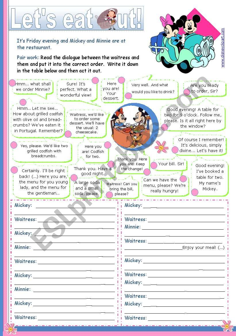 Let´s eat out  -  Reading + Writing + Speaking activity for Upper elementary and Lower intermediate students