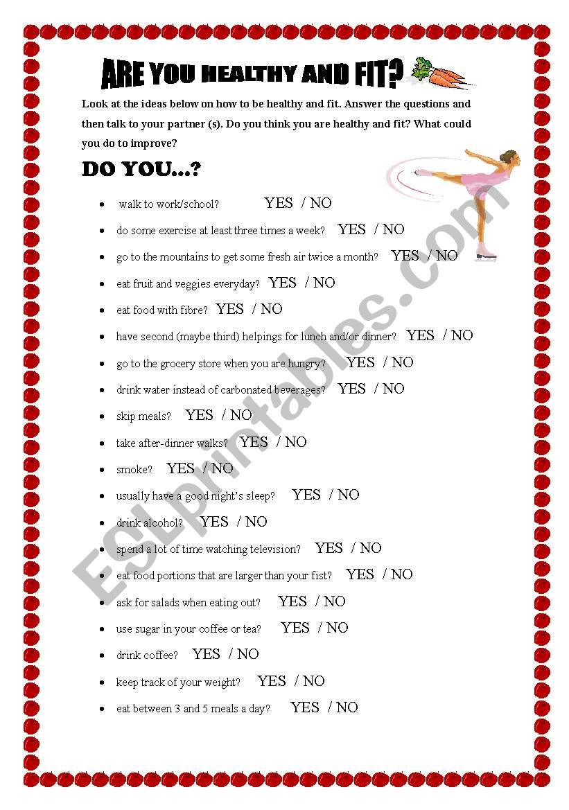 Are you healthy and fit? worksheet