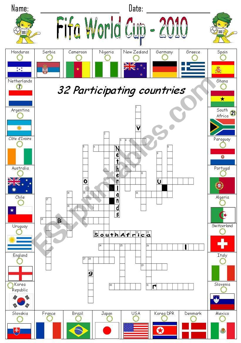 Fifa World Cup Countries worksheet
