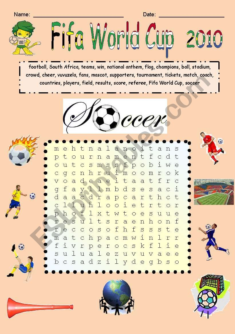 Fifa World Cup soccer words worksheet