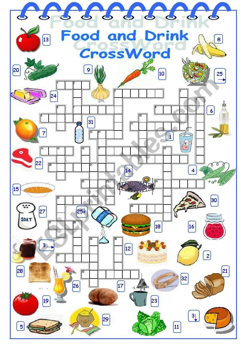crossword food drink worksheet worksheets crosswords esl vocabulary vanda51 posted