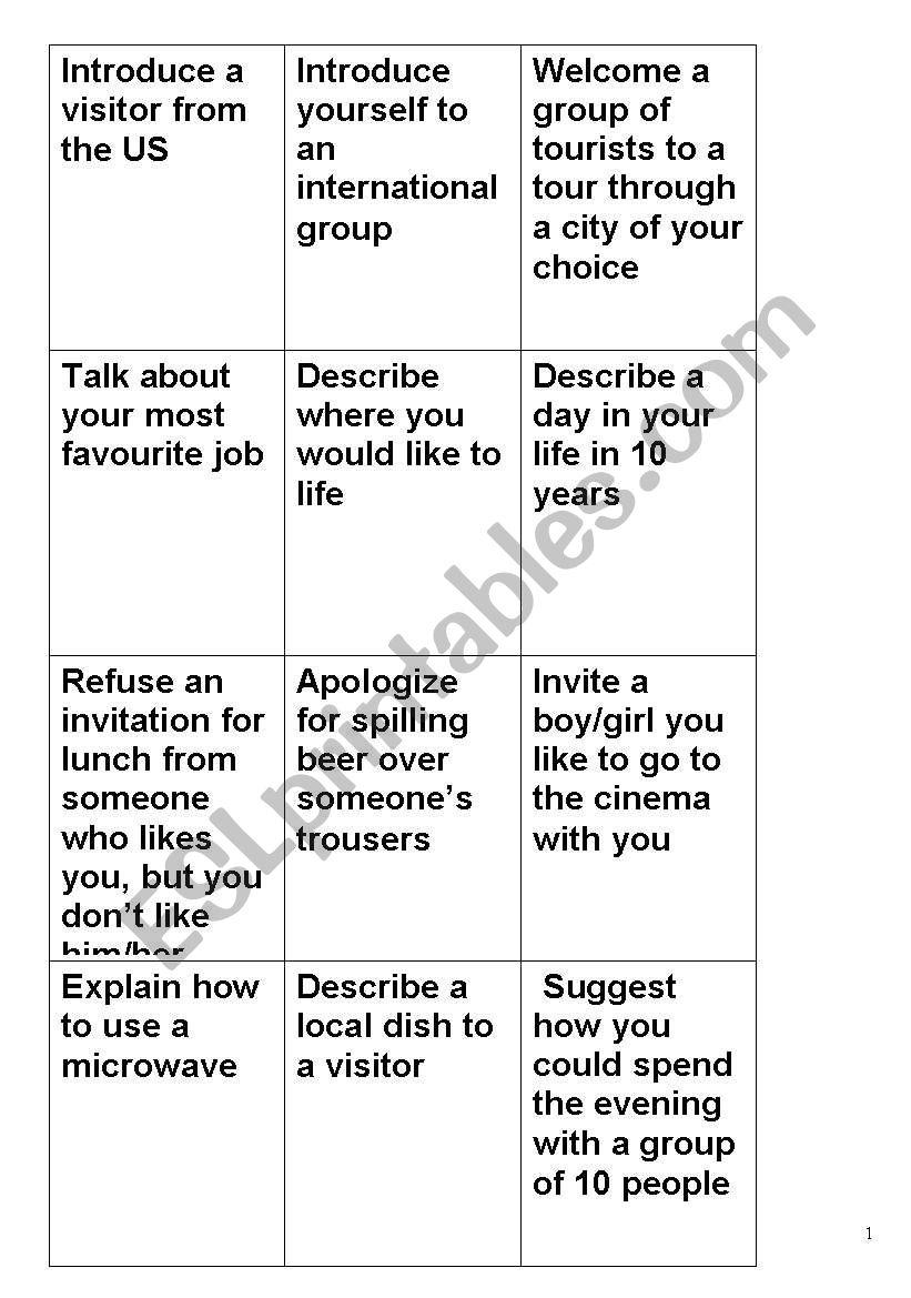 minute talk worksheet