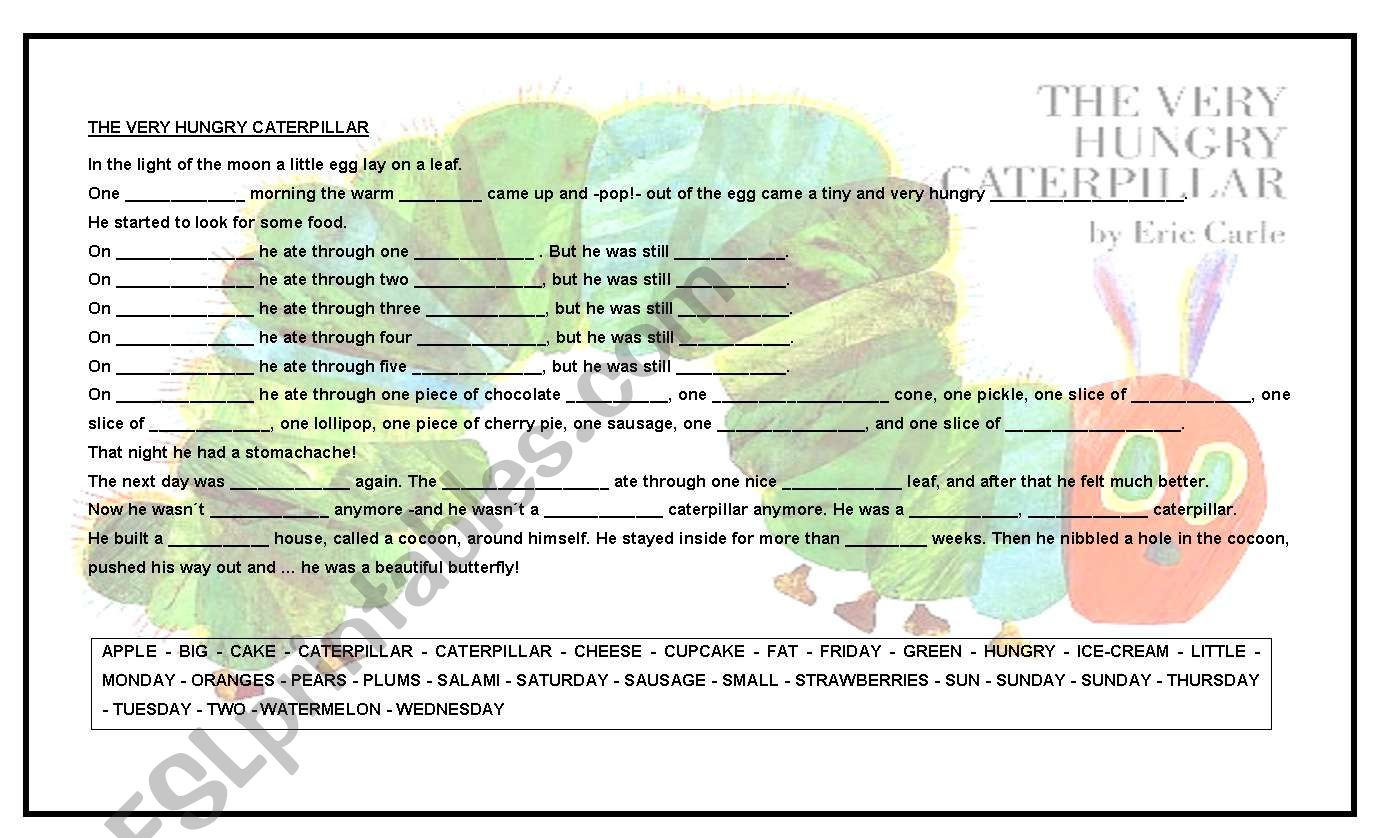 The Very Hungry Caterpillar worksheet