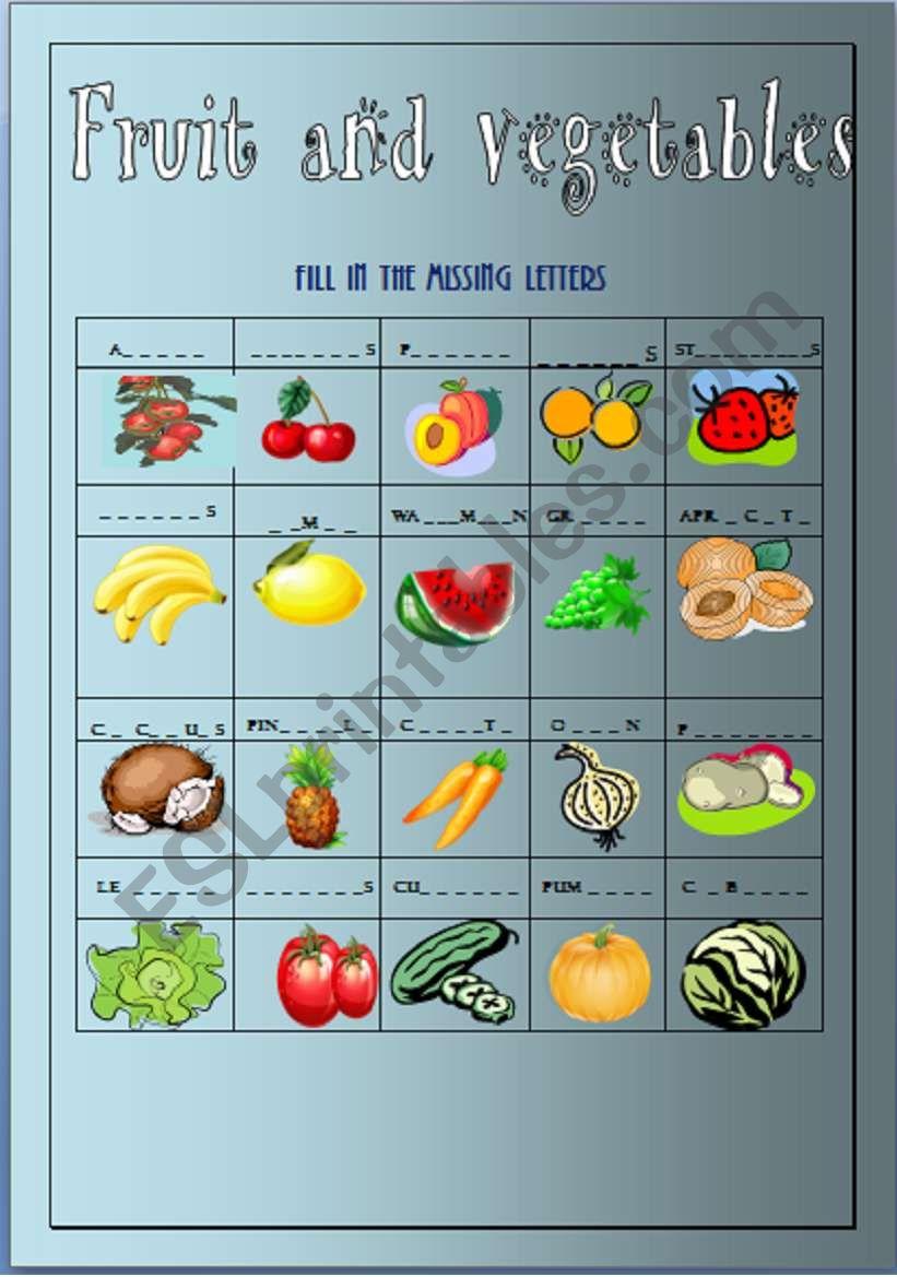 FRUIT AND VEGETABLES  worksheet