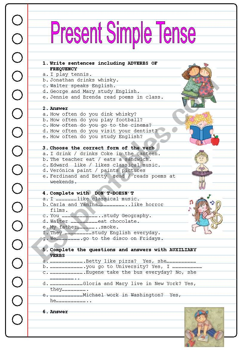 PRESENT SIMPLE TENSE worksheet