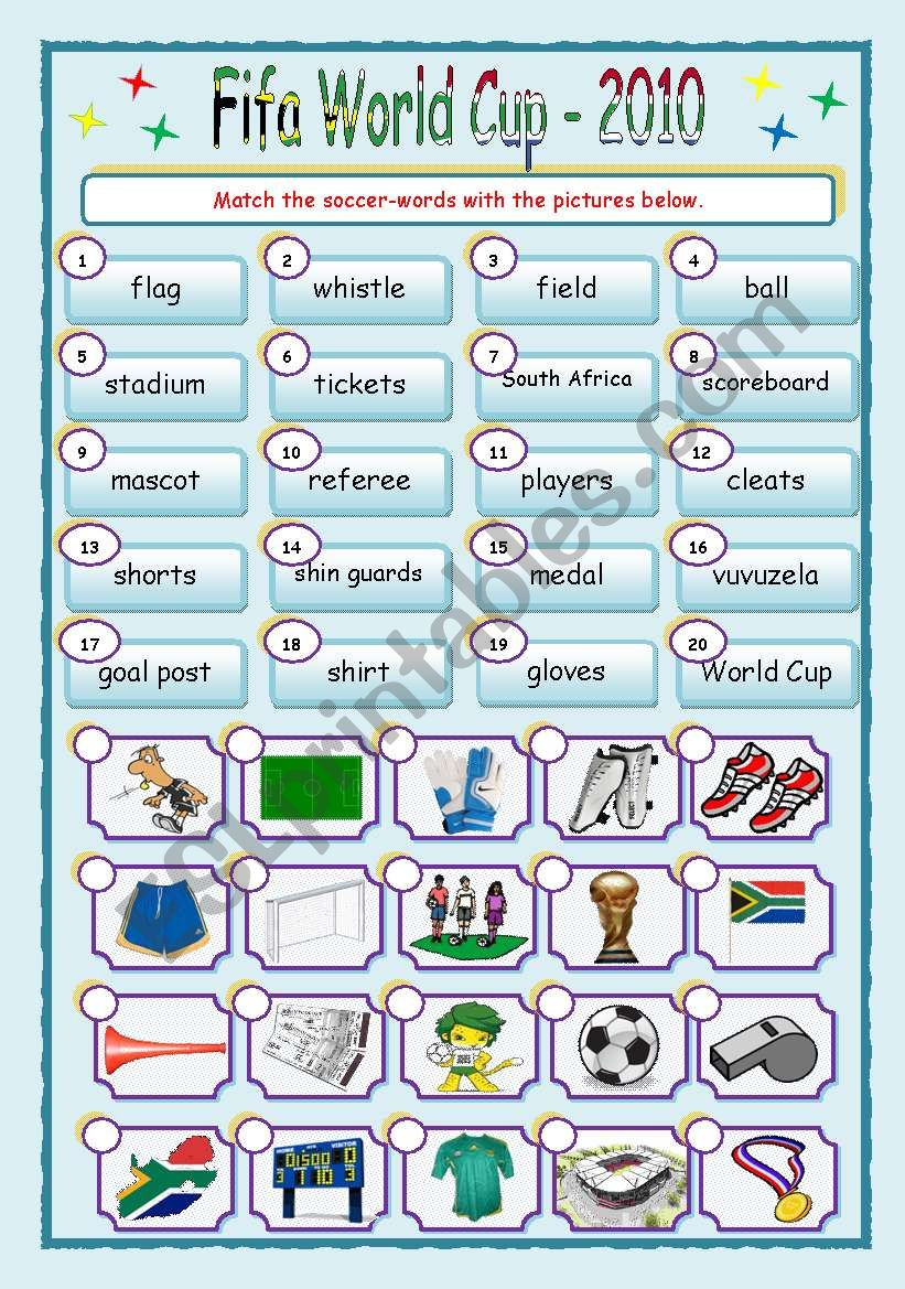 Fifa World Cup Matching ws worksheet
