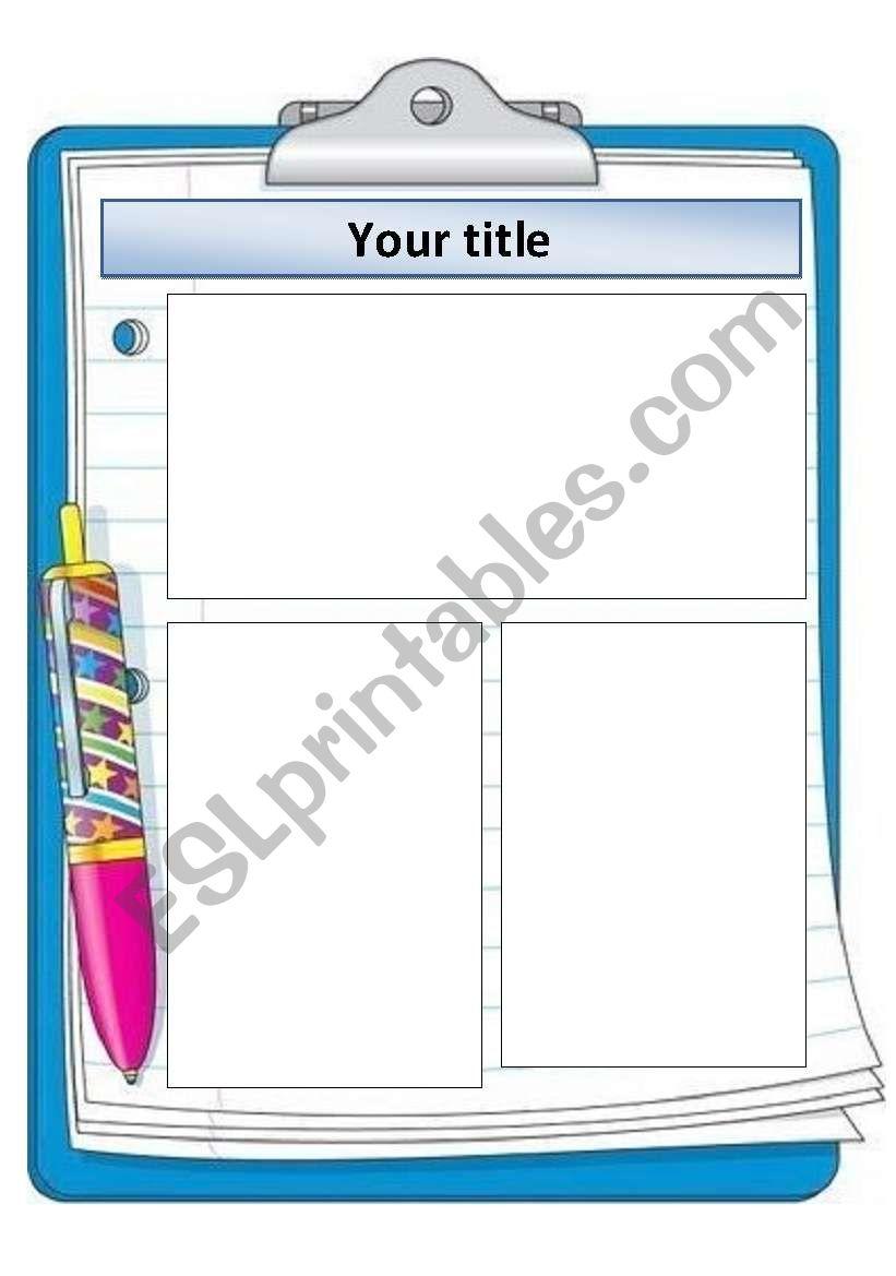 Clipboard template worksheet