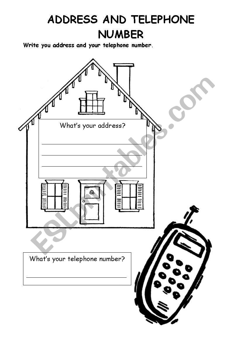 Whats your address? worksheet