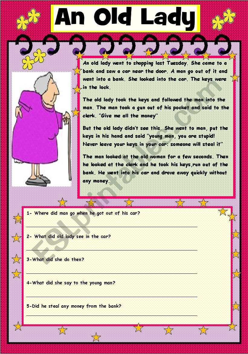 An old lady  worksheet