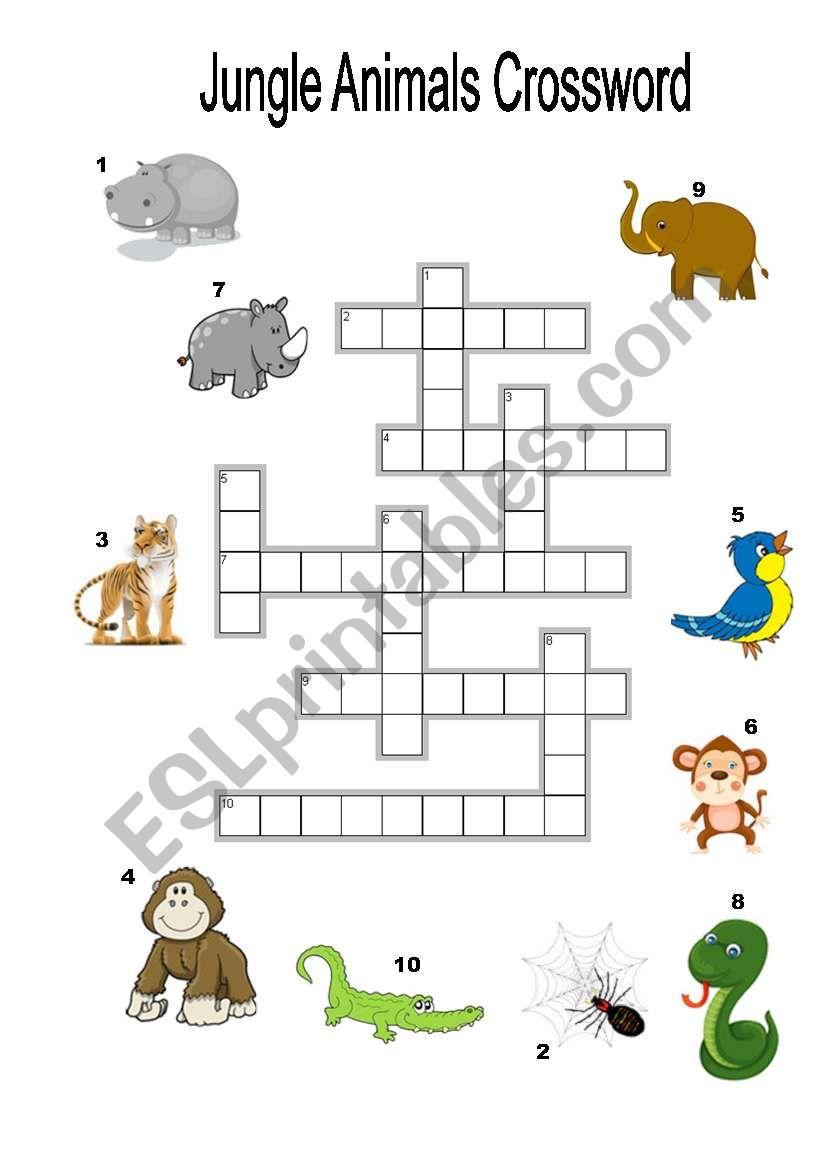 jungle animals crossword esl worksheet by shaktilily. Black Bedroom Furniture Sets. Home Design Ideas