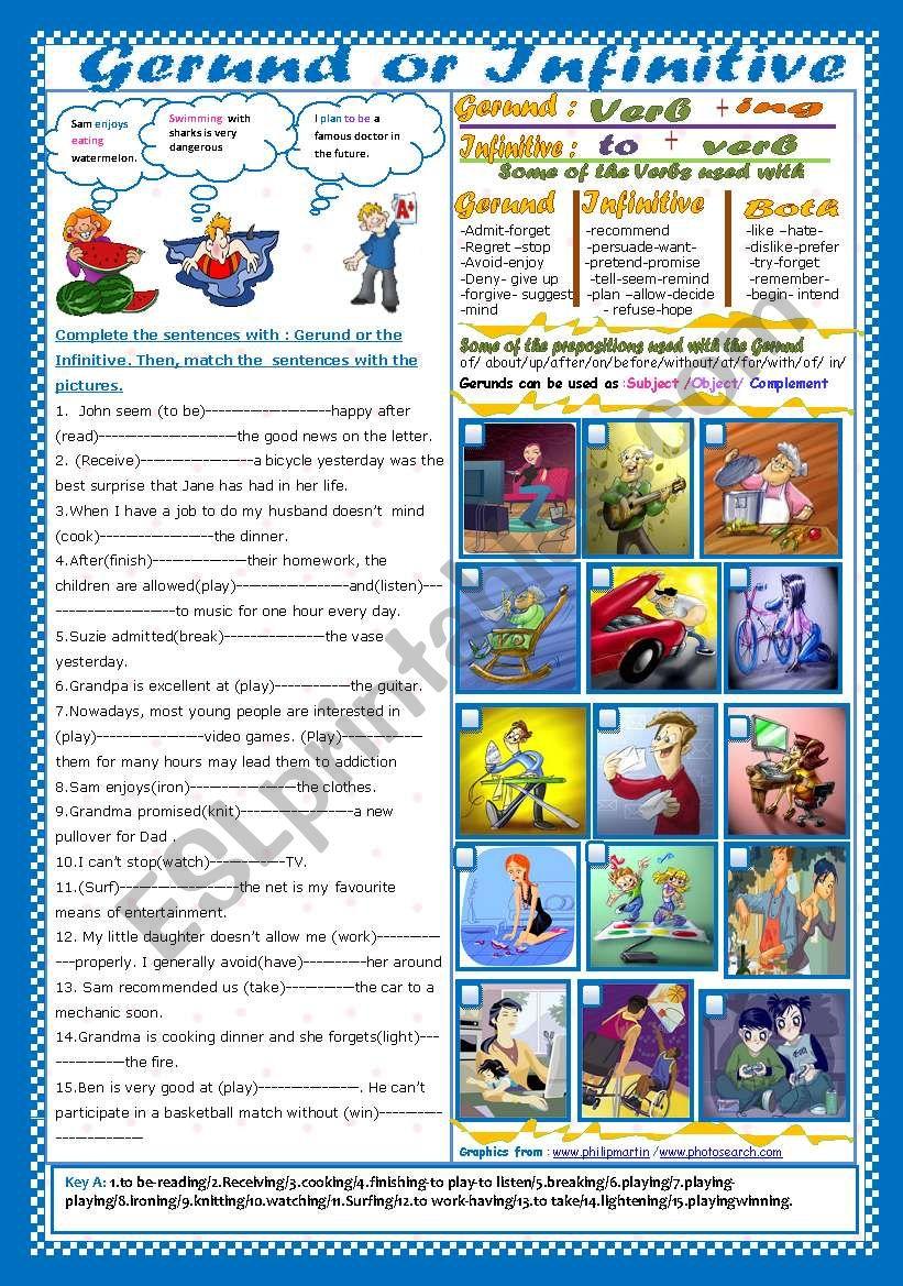 Gerund or Infinitive(+ Key) worksheet
