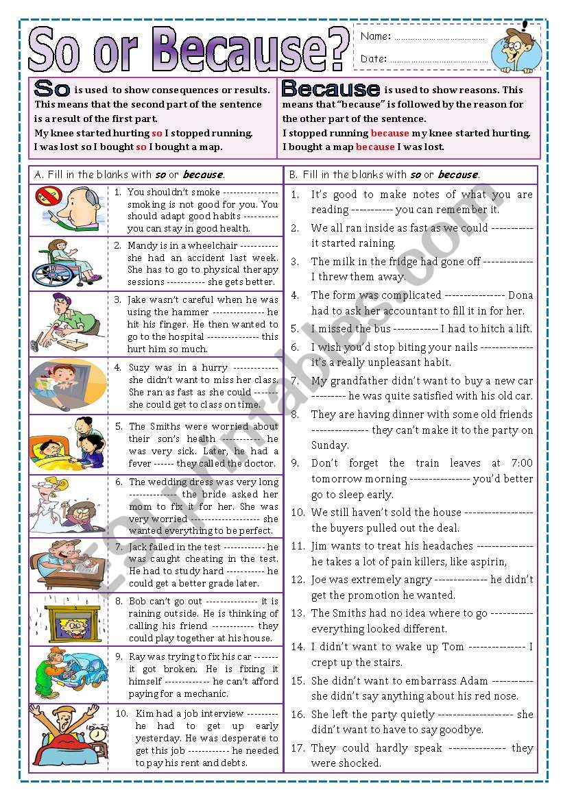 So or Because? worksheet