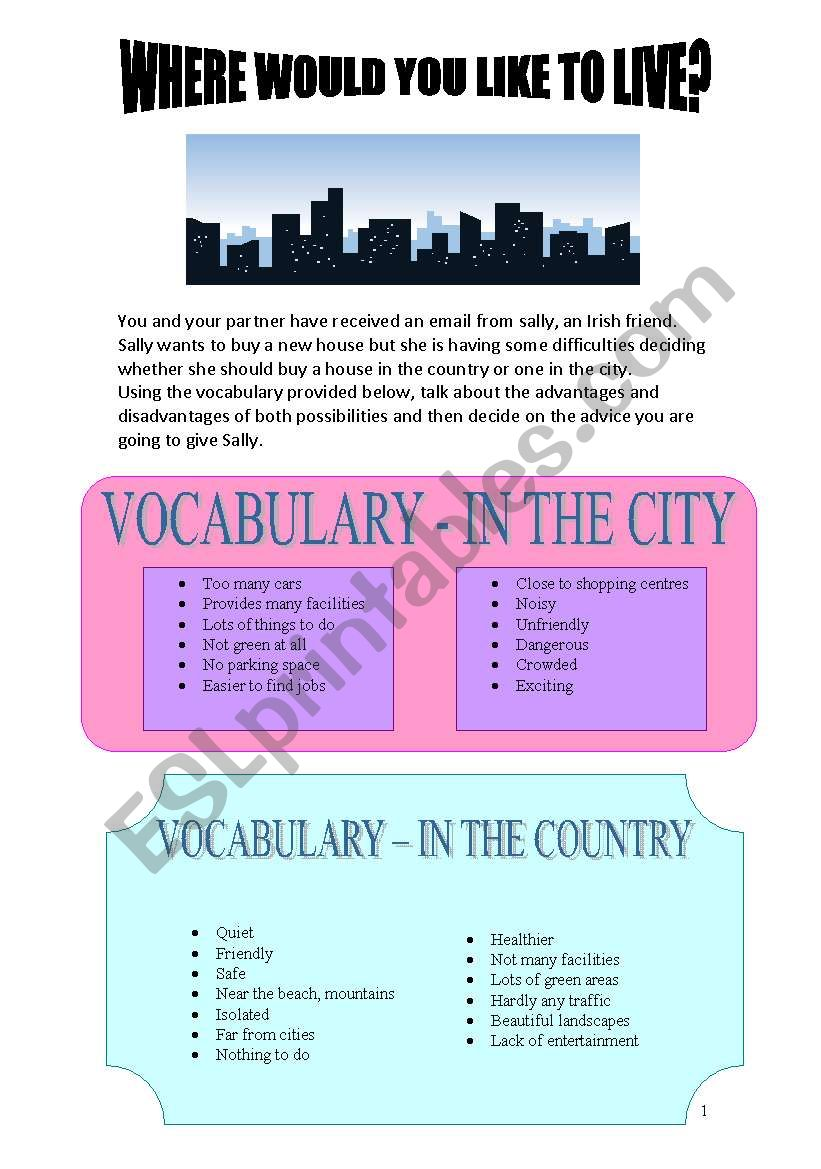 where would you like to live? worksheet