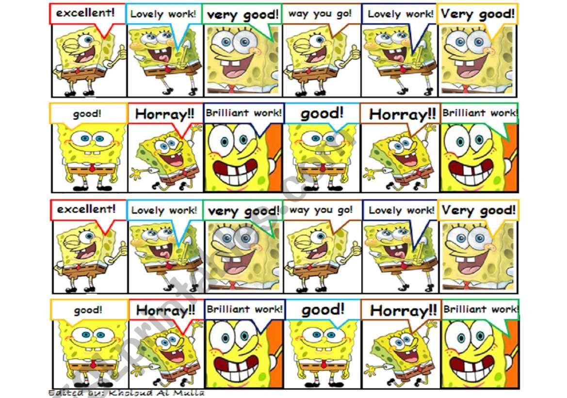 Rewarding Stickers: spongebob worksheet